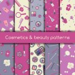 Cosmetics and beauty seamless patterns — Stock Vector #38193743
