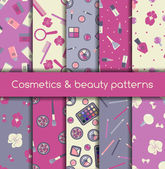 Cosmetics and beauty seamless patterns — Stock Vector