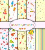 Set of ten happy birthday patterns — Stock Vector