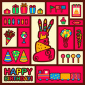 Vector happy birthday background. Greeting card — Stock Vector