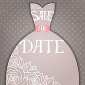 Wedding invitation with beautiful elegant wedding dress. — Stock Vector