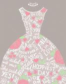 Wedding invitation with beautiful elegant wedding dress. — Vecteur