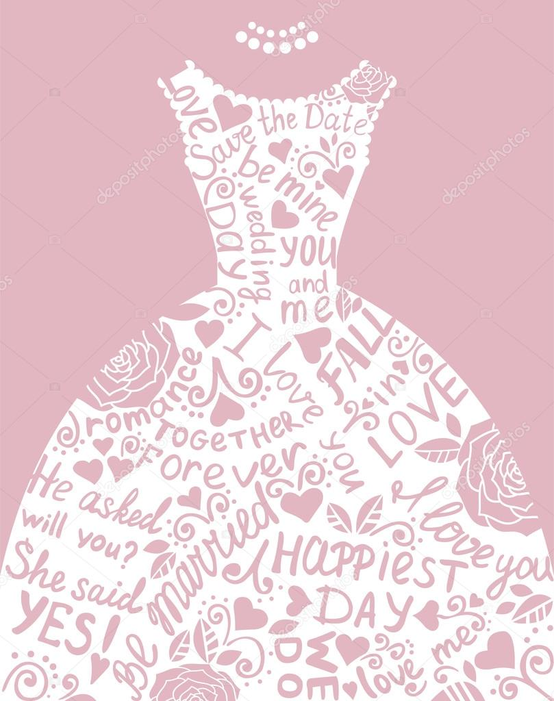 wedding dress clip art pink