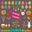 Set of Easter flat elements — Stock Vector