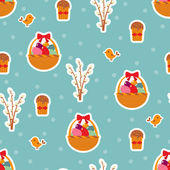 Easter seamless pattern with eggs and cakes. — Stock Vector