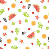Summer seamless pattern with fruits. — Stock Vector