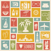 Summer holiday card with flat elements — Stock Vector