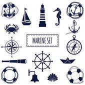 Flat marine set — Stock Vector