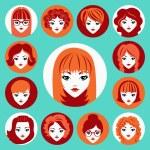 Vector set of stylish girls in modern flat design — Stock Vector #44368861