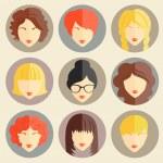 Vector set of stylish girls in modern flat design — Stock Vector #44368883