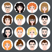 Vector set of stylish avatars of girls and guys in modern flat design — Stock Vector