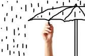 Dibujo un paraguas con marcador negro de la mano — Foto de Stock