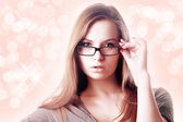 Sexy blonde woman wearing glasses — Stock Photo