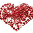 Abstract heart of red beads on white background — Stok fotoğraf