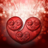 Red transparent hearts and defocused lights. Valentine's day concept. — Stock Photo