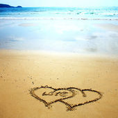 Two hearts in the sand — Stock Photo