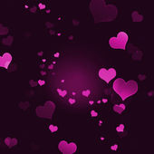 Dark background with a lot of pink transparent hearts. — Stock Photo