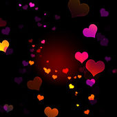 A lot of multicolored hearts on black background — Stock Photo