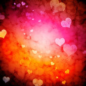 Bright conceptual background with multicolored bubbles and hearts. — Stock Photo
