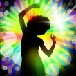 Silhouette of dancing girl against disco lights — Stock Photo #22269347