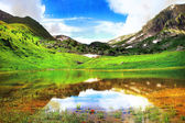Wonderful landscape with mountain lake, alpine meadow and mountains — Stock Photo