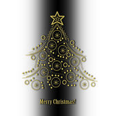 "Abstract golden Christmas tree on black and white background and text ""Merry Christmas"". — Stock Photo"