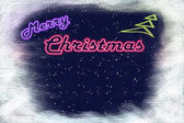 "Neon signboard ""Merry Christmas"" and neon Christmas tree — Stock Photo"