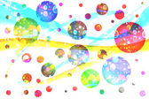 Galaxy. Many colored spheres like planets in universe. — Stock Photo