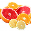 Citrus fruits: orange, grapefruit and lemon — Stok fotoğraf