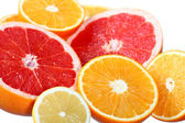 Citrus fruits: orange, grapefruit and lemon — Stock Photo