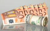 Alternatives: euro and dollar banknotes — Stock Photo