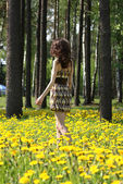 Young brunette walking along the meadow — Stock Photo