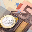 Euro banknote and coin — Stock Photo