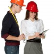Successful architects in hardhats — Stock Photo
