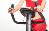 Exercising on a bicycle trainer — Stock Photo