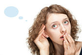 Young woman trying to overhear something — Stock Photo