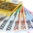 Euro banknotes, fmade of euro paper currency — Stock Photo #14774729