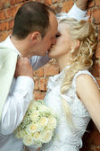 Kissing bride and groom — Stockfoto