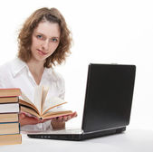Beautiful smiling young student studying — Stock Photo