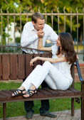 Beautiful romantic young couple in love — Stock Photo