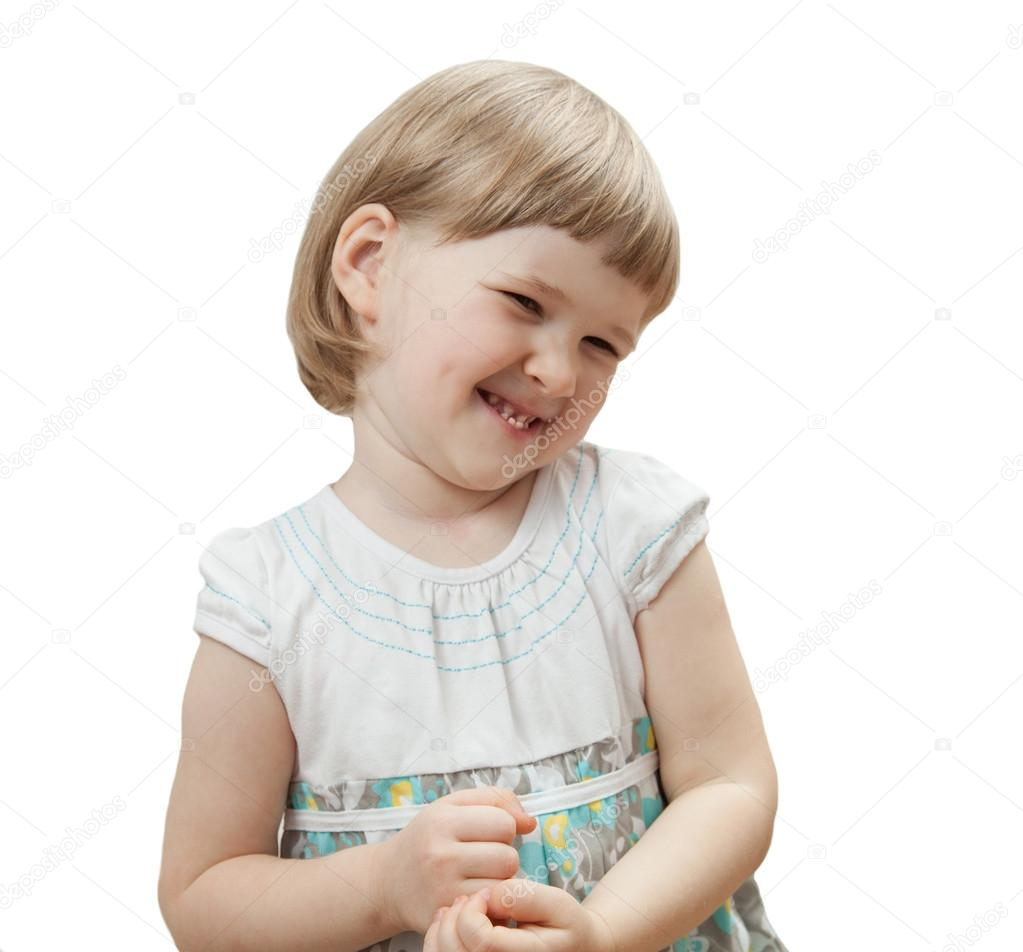 Smiling little girl; isolated on white — Stock Photo #14775349