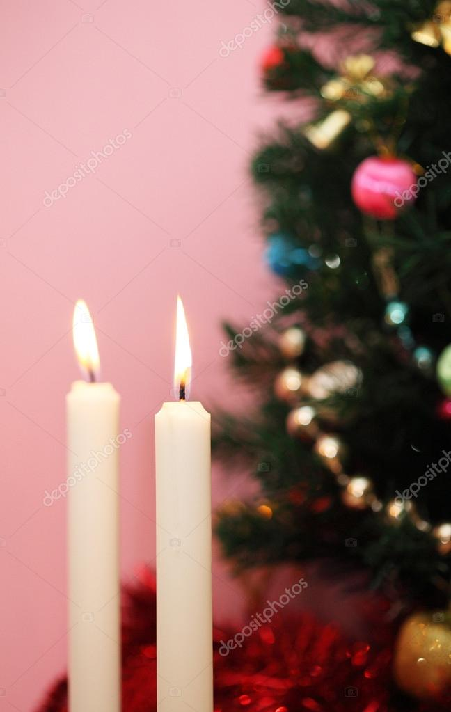 Christmas tree and candles — Stock Photo #14775397
