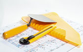Construction tools and blueprint — Stock Photo