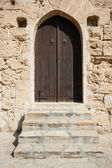 Closed wooden door of medieval fortress — Stock Photo