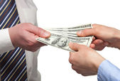 Human hands exchanging money — Stock Photo