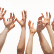 Many hands reaching out up — Stock Photo #19933107