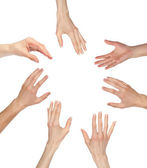 Many hands wanting or asking for something, copyspace — Stock Photo