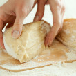 Preparing dough for baking — Stockfoto