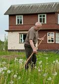 Mann bewegte gras — Stockfoto