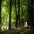 Married couple walking in a summer park — Stock Photo